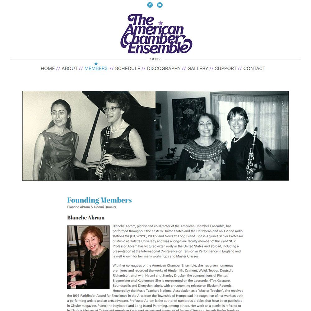 View screenshots of the American Chamber Ensemble website