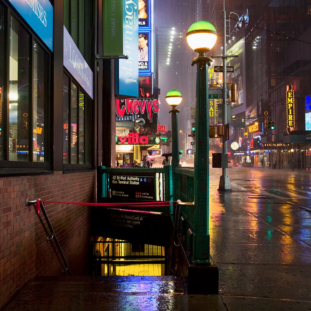 View image of 42nd st and 7th ave in Times Square during Hurricane Irene
