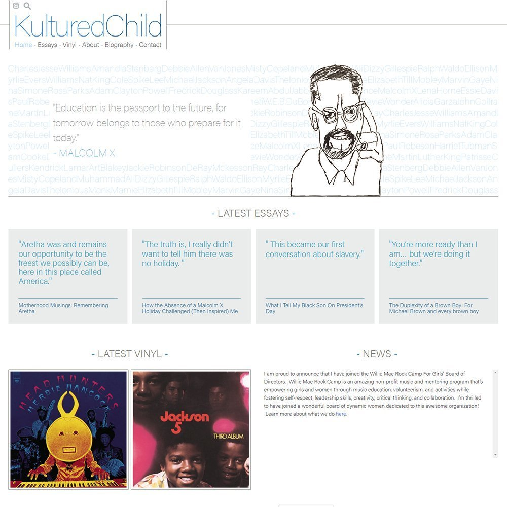 View screenshots of the Kultured Child website